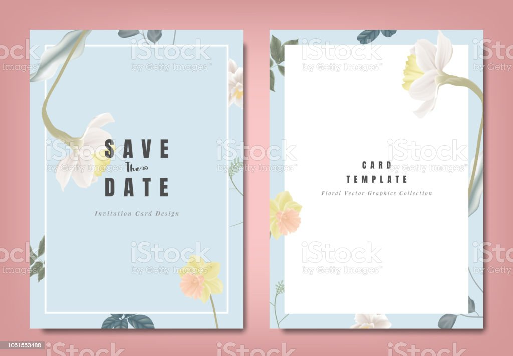 botanical wedding invitation card template design yellow and white