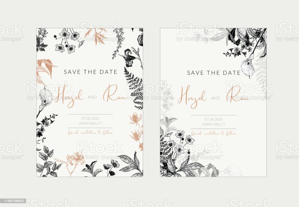 Botanische Hochzeit Einladung Vorlage Set Mit