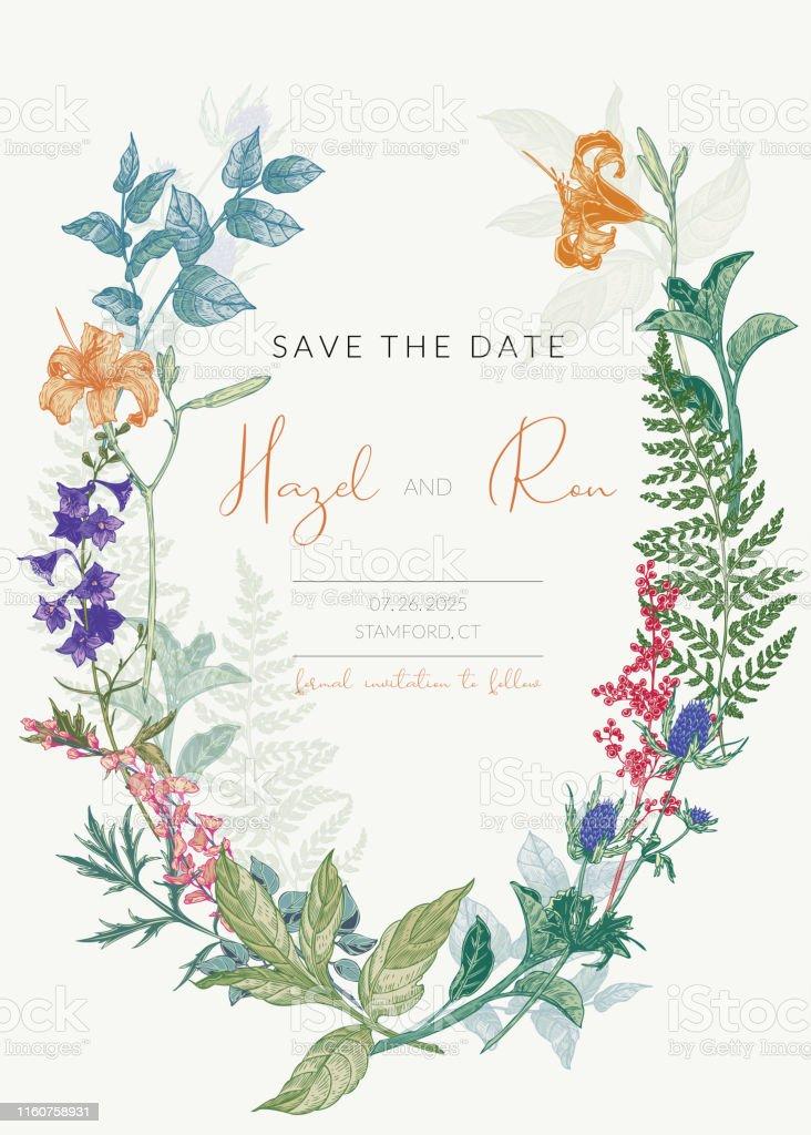Botanische Hochzeit Einladung Vorlage Mit Handgezeichneten