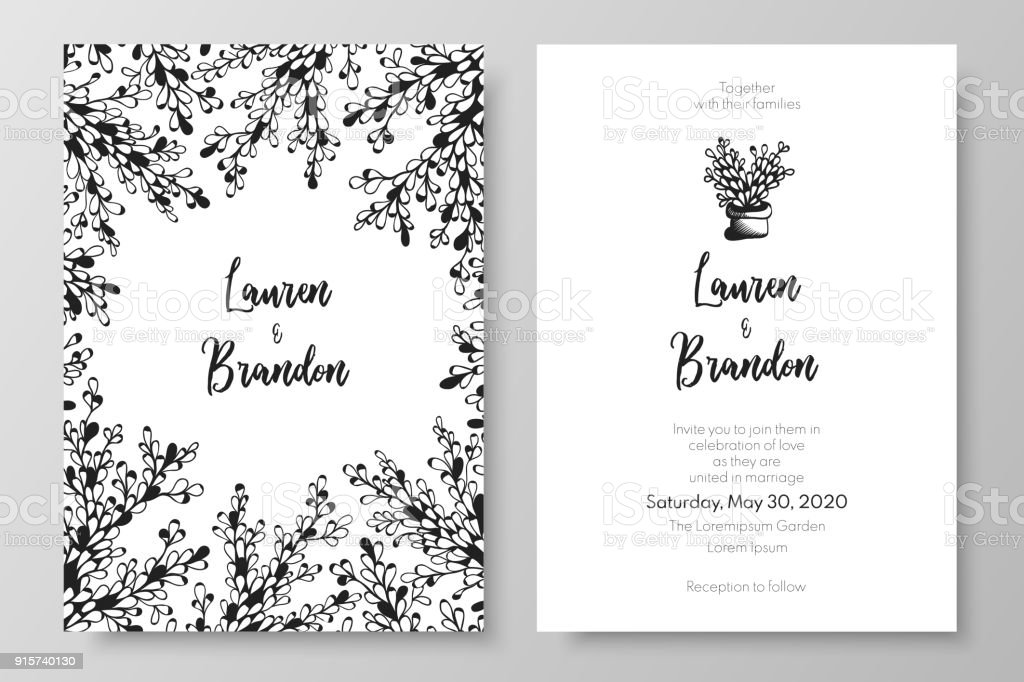 botanical wedding invitation templates cards with abstract white