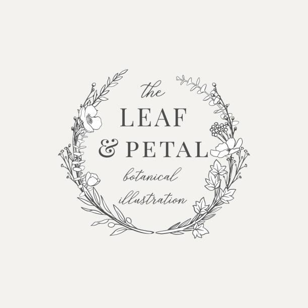 stockillustraties, clipart, cartoons en iconen met botanische krans illustratie voorgemaakt logo - klimop