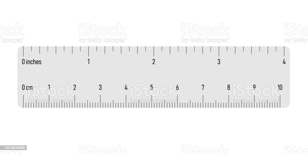 Both Side Ruler With Scales In Centimeters And Inches Grey Vector