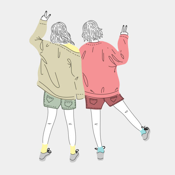 Both young women dress up in fashion and lifestyle styles standing outdoors.Doodle art concept,illustration painting vector art illustration