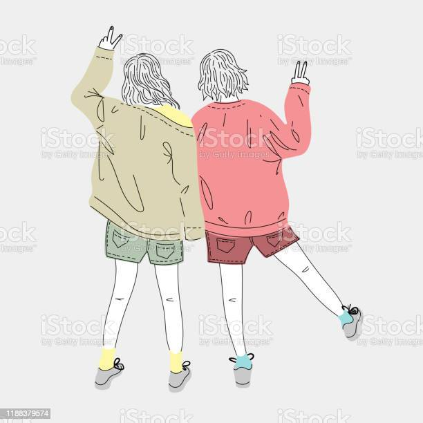 Both Young Women Dress Up In Fashion And Lifestyle Styles Standing Outdoorsdoodle Art Conceptillustration Painting Stock Illustration - Download Image Now
