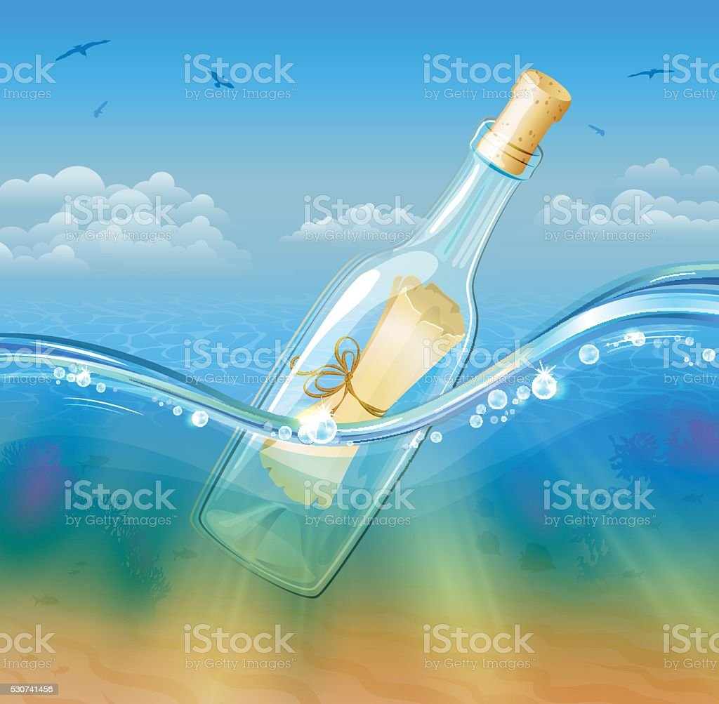 Botlled Scroll Message in deep sea water vector art illustration