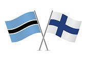 Botswana and Finland flags.Vector illustration.