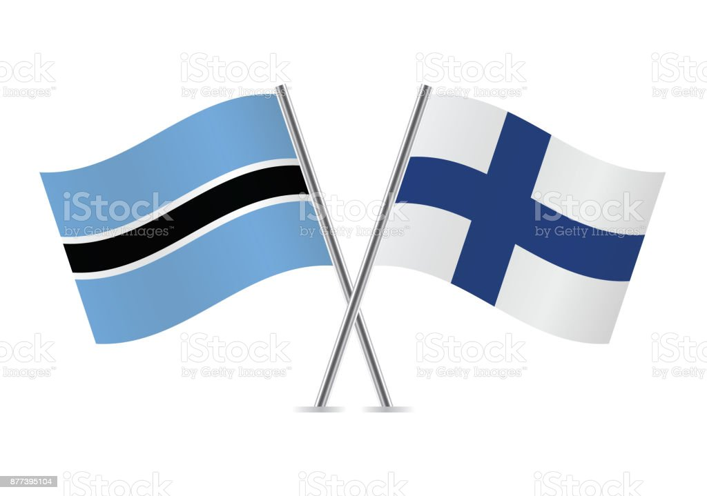 Botswana and Finland flags.Vector illustration. vector art illustration