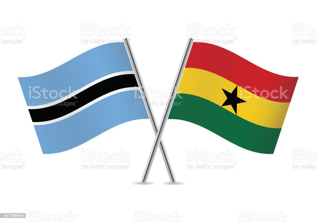 Banderas de Botswana y Ghana. Ilustración de vector. - ilustración de arte vectorial