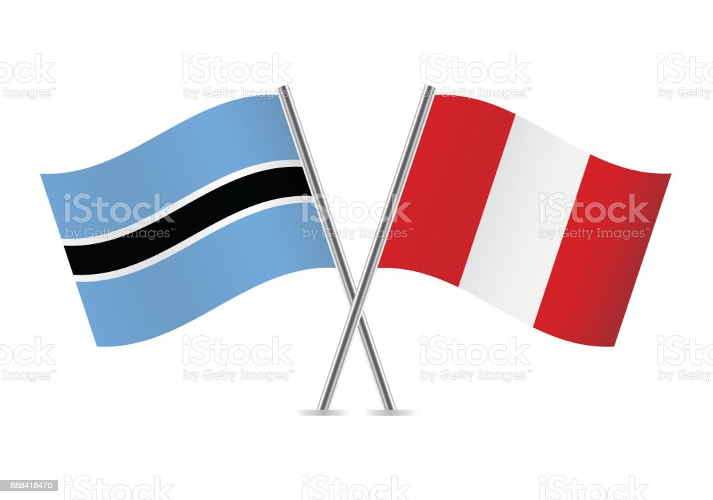 Drapeaux de Botswana et au Pérou. Illustration vectorielle. - Illustration vectorielle
