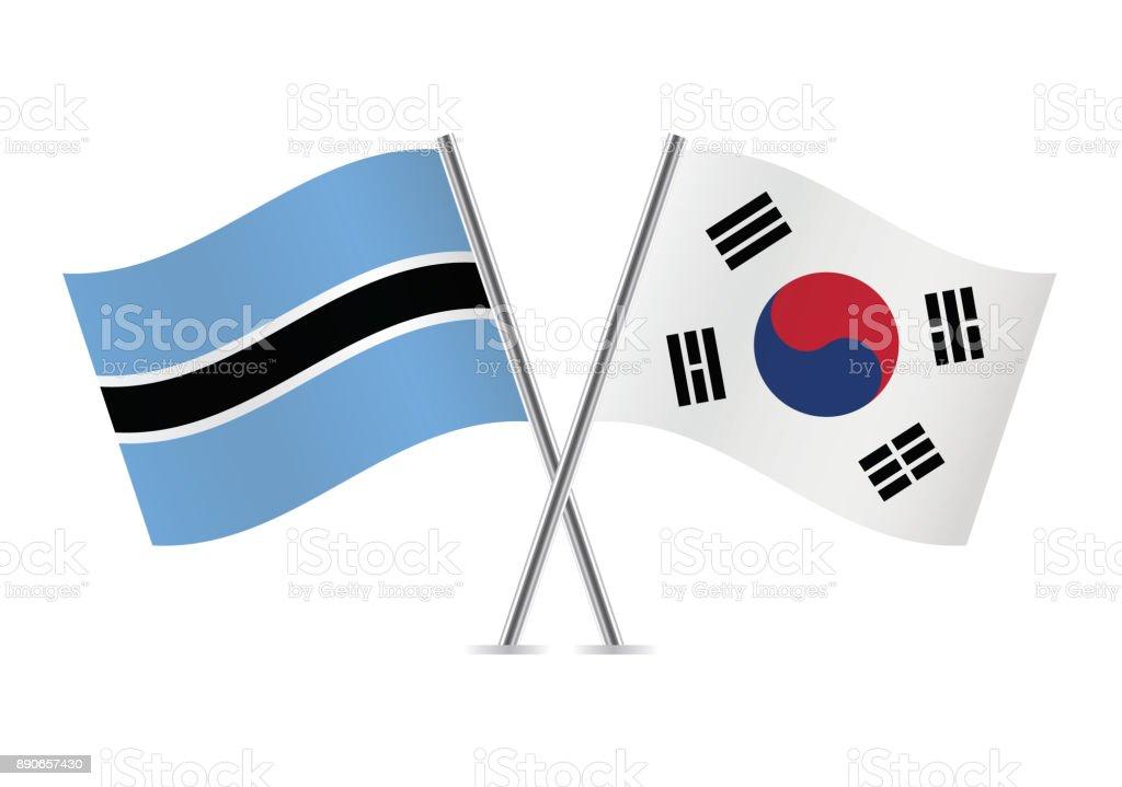 Sinalizadores de Botswana e Coreia do Sul. Ilustração em vetor. - ilustração de arte em vetor