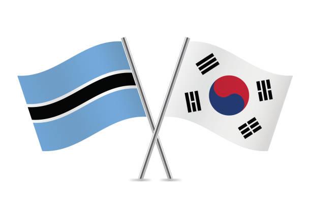 ボツワナと韓国のフラグです。ベクトルの図。 - 韓国の国旗点のイラスト素材/クリップアート素材/マンガ素材/アイコン素材