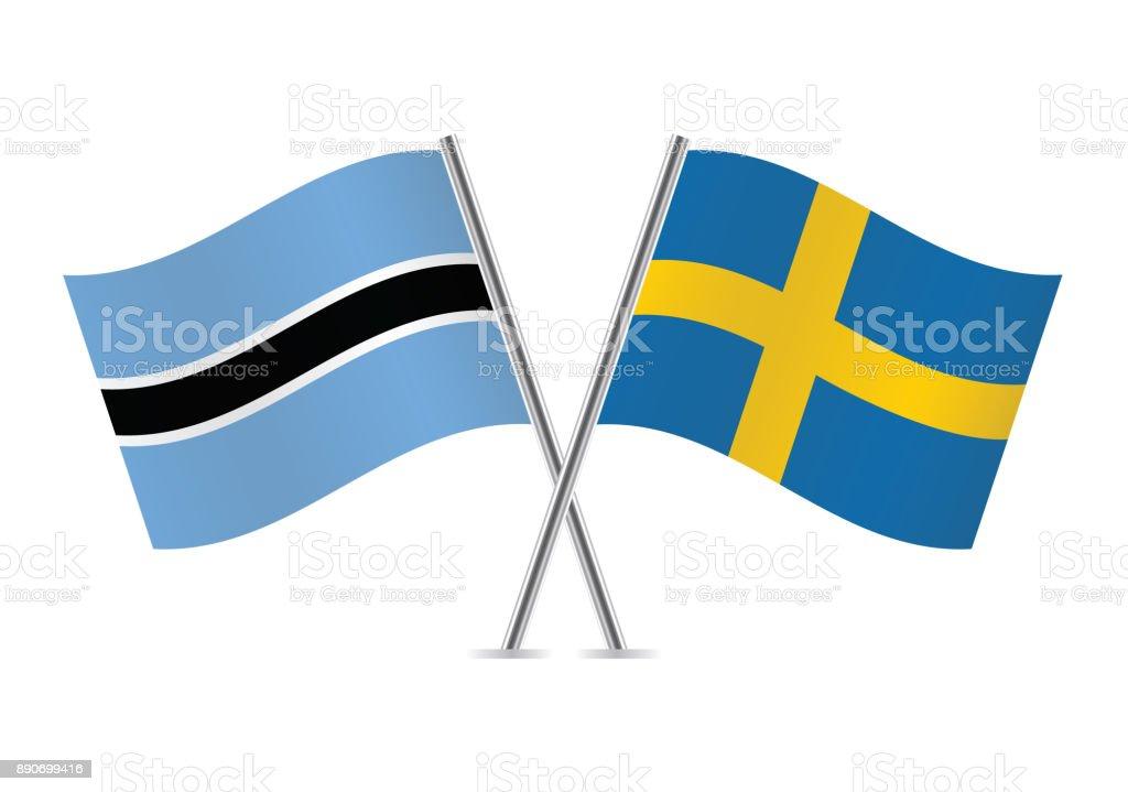 Botswana and Sweden flags. Vector illustration. vector art illustration