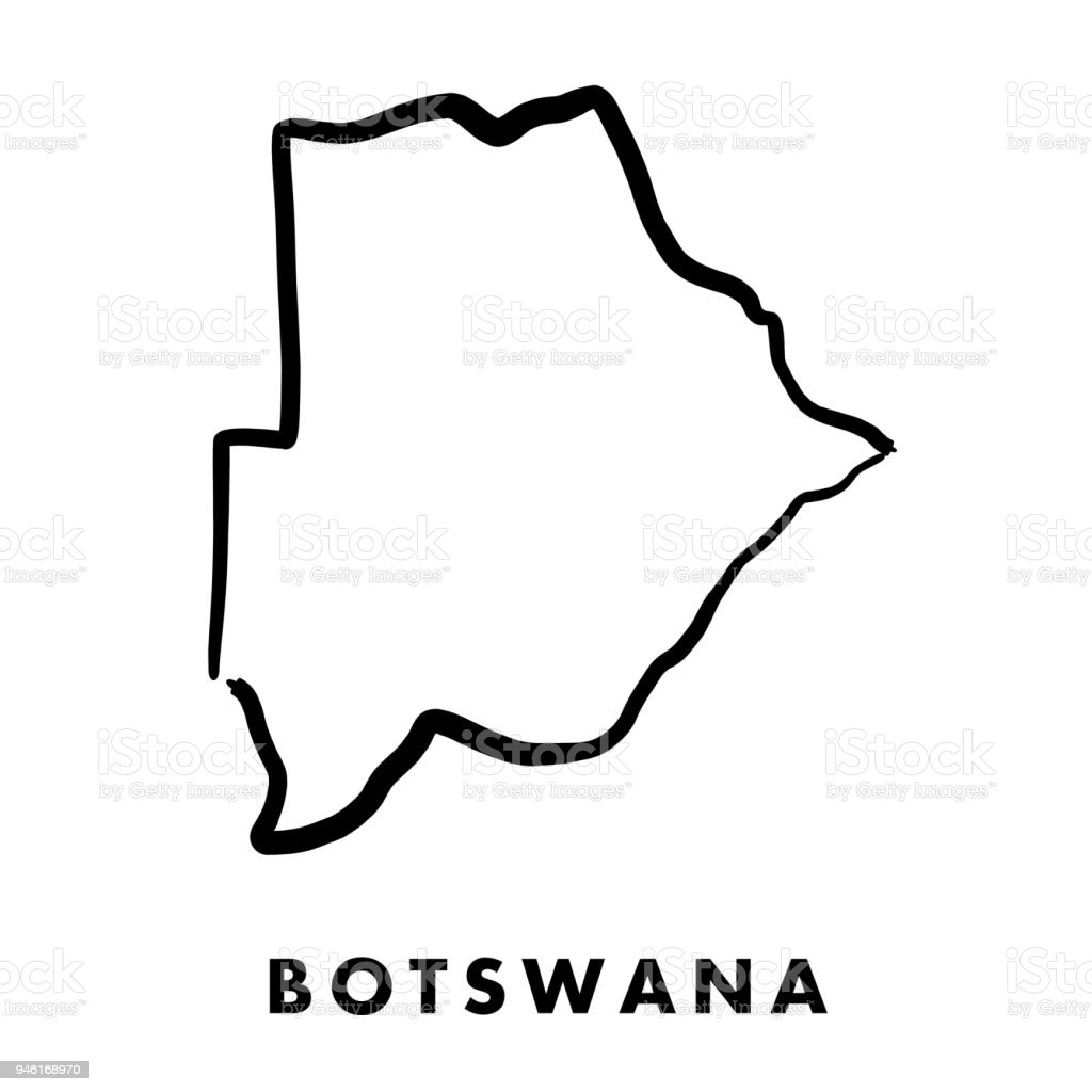 Botswana Map Outline Stock Vector Art More Images Of Africa