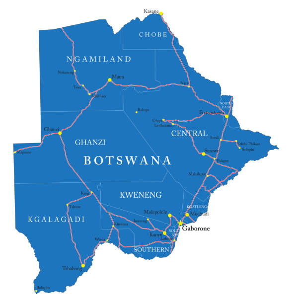 Botswana map Highly detailed vector map of Botswana with administrative regions, main cities and roads. kanye west stock illustrations