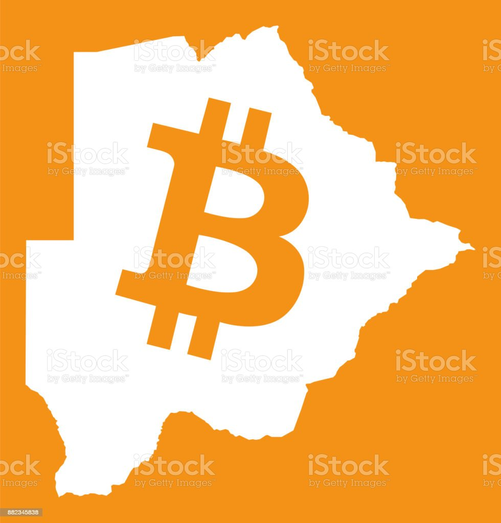 Botswana Map With Bitcoin Crypto Currency Symbol Illustration Stock