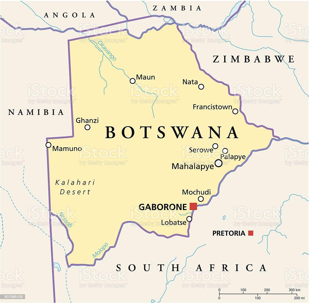 Botswana Political Map vector art illustration