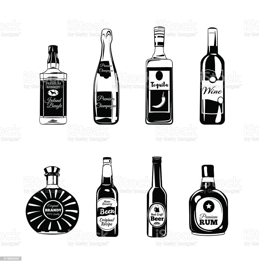 Bottle Alcohol Elements Tequila Champagne Whisky Wine