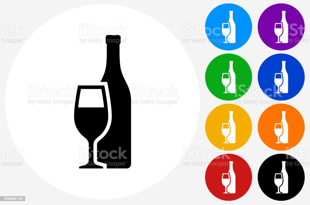 Bottle and Glass Icon on Flat Color Circle Buttons - Illustration vectorielle