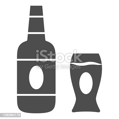 istock Bottle and glass of beer solid icon, Oktoberfest concept, beer sign on white background, Bottle and mug icon in glyph style for mobile concept and web design. Vector graphics. 1280984179