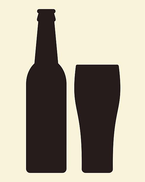 Flasche und Glas Bier-Vektor-illustration – Vektorgrafik