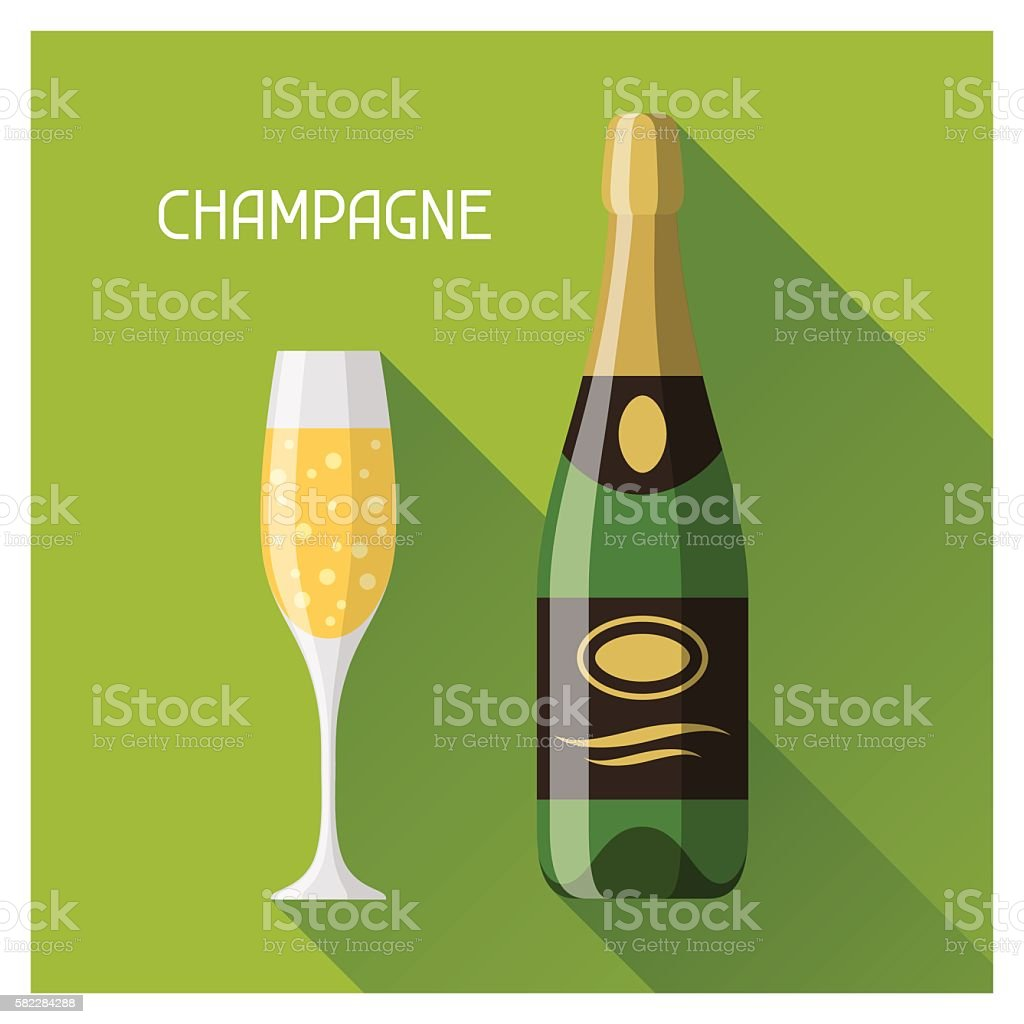 Bottle and glass of champagne in flat design style vector art illustration