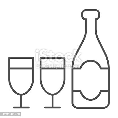 istock Bottle and glass of champagne thin line icon, Christmas and New Year concept, sparkling wine in two glasses sign on white background, alcohol for holiday icon in outline style. Vector graphics. 1285201270
