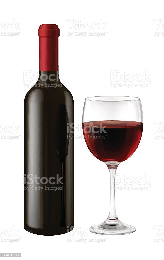 Bottle and glass of red wine vector art illustration