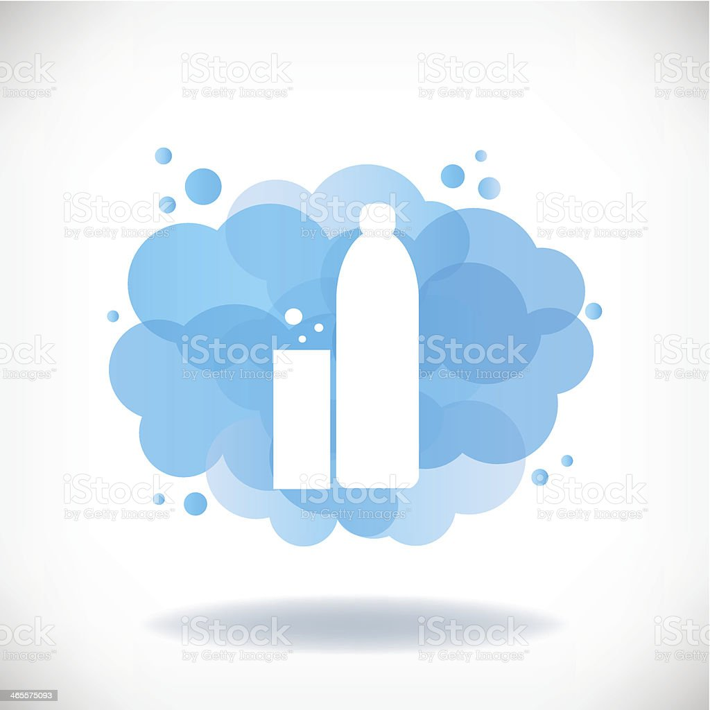 Bottle and glass of water with transparent clouds. royalty-free stock vector art