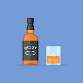 Bottle and glass of whiskey with ice. Flat style vector illustration.