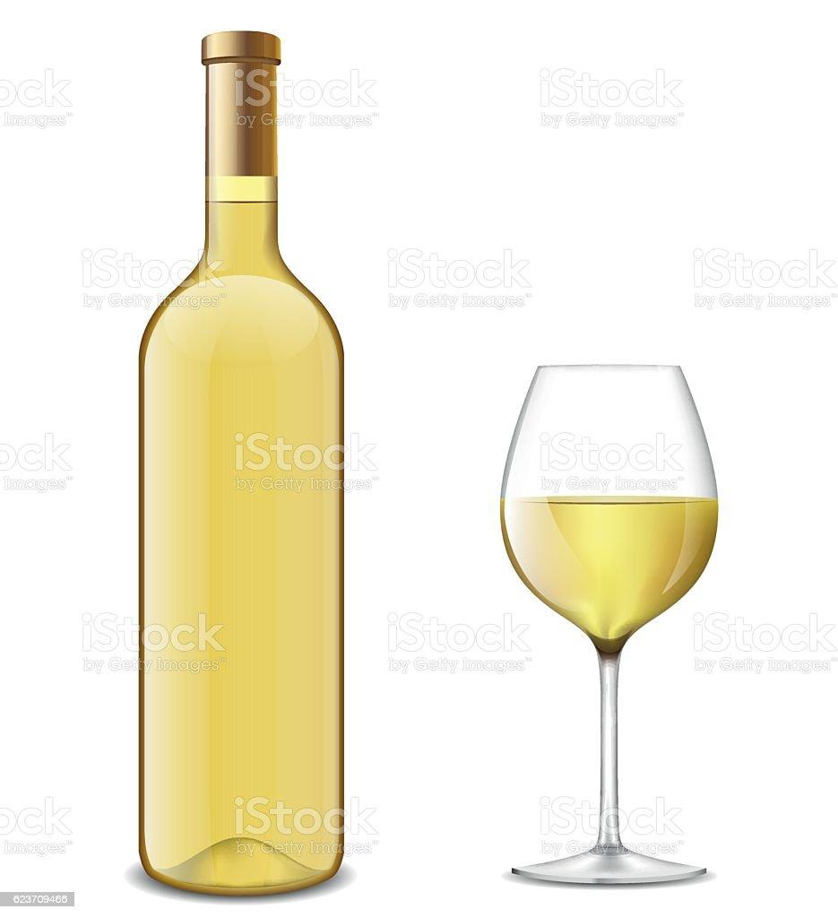 bottle and glass of white wine vector art illustration