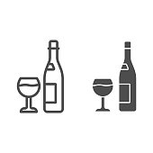Bottle and glass of wine line and solid icon, Wine festival concept, Alcoholic drink for celebration sign on white background, Bottle of wine and wineglass icon in outline style. Vector graphics