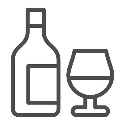 Bottle and glass of wine line icon, alcohol drinks concept, wine sign on white background, bottle with glass icon in outline style for mobile concept and web design. Vector graphics