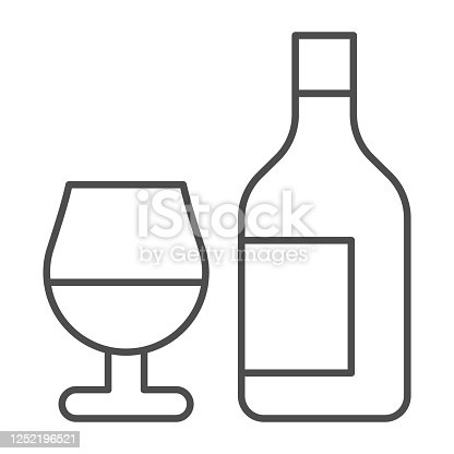 Bottle and glass of wine thin line icon, alcohol drinks concept, wine sign on white background, bottle with glass icon in outline style for mobile concept and web design. Vector graphics