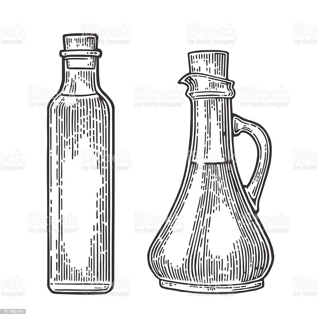 Bottle and Jug glass of liquid cork stopper. Olive oil. vector art illustration