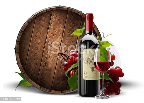 A bottle and a transparent glass with red wine twined with a vine on a wooden wine barrel background.