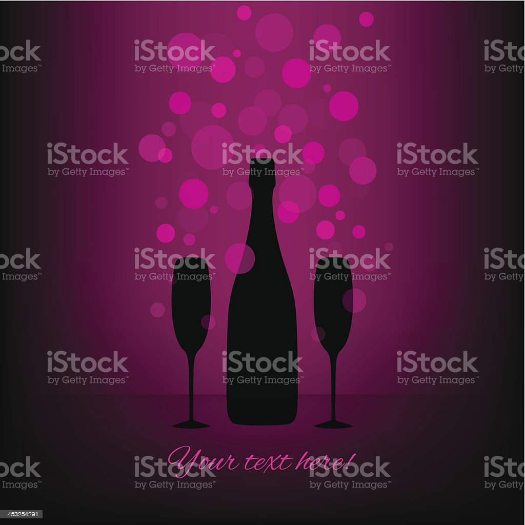 Bottle and two glasses of champagne with transparent bubbles. vector art illustration