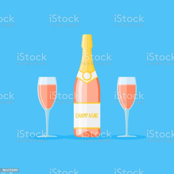 Bottle and two glasses of rose champagne flat style vector vector id904223392?b=1&k=6&m=904223392&s=612x612&h=wwp27xsynwhdjxieic25h2fhssytxwfraasb0zkyqiw=