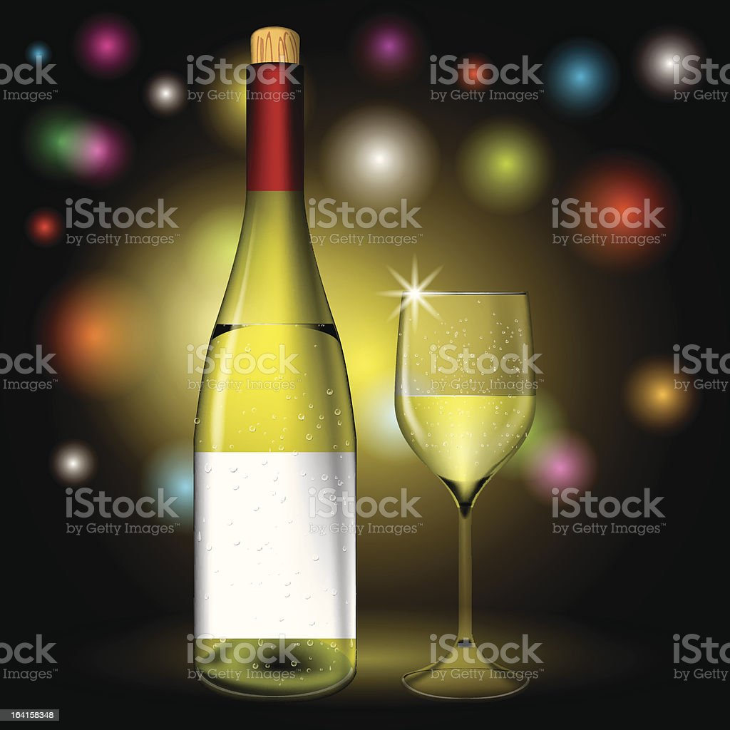 Bottle and wine glass vector royalty-free stock vector art