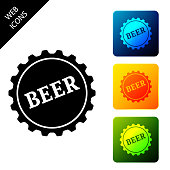 Bottle cap with beer word icon isolated on white background. Set icons colorful square buttons. Vector Illustration