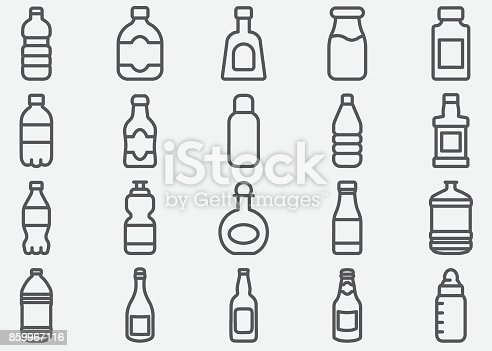 Bottle Drink Line Icons