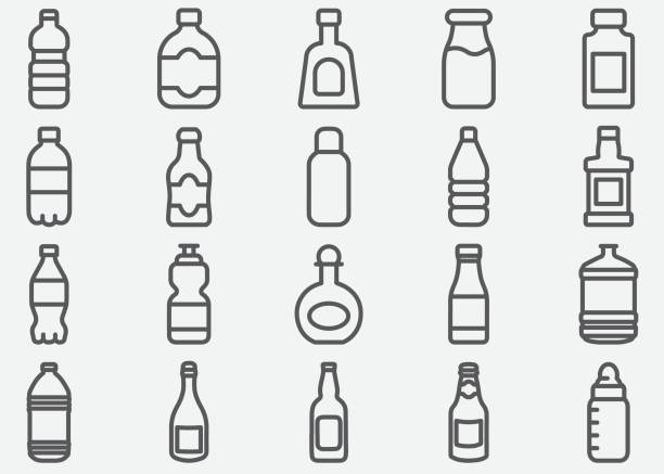 Bottle Drink Line Icons Bottle Drink Line Icons bottle stock illustrations