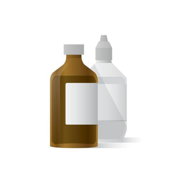 stockillustraties, clipart, cartoons en iconen met fles voor het schoonmaken van de wond illustratie vector op witte achtergrond. medisch concept. - infuusoplossing