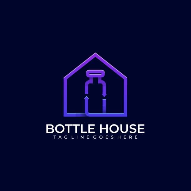 illustrazioni stock, clip art, cartoni animati e icone di tendenza di modello vettoriale illustrazione casa bottiglia - grocery home