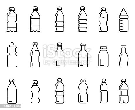 Bottle icon set , vector illustration