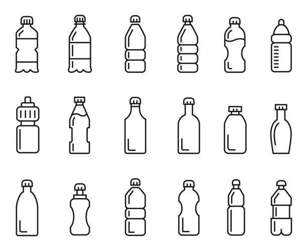 병 아이콘 세트 - 플라스틱 stock illustrations