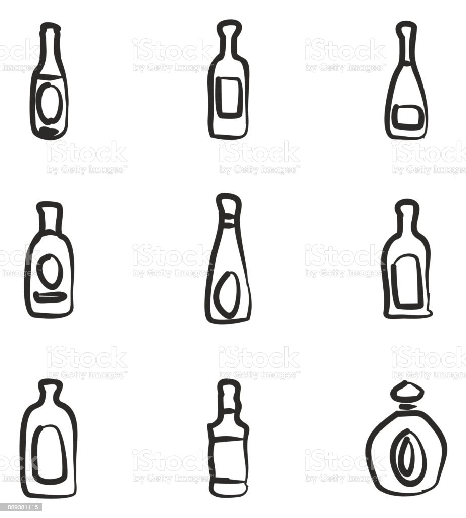 Bottle Icons Freehand vector art illustration