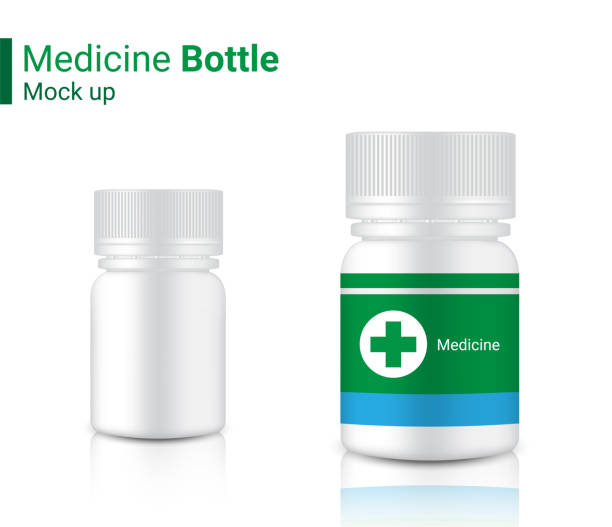 Bottle Mock up Realistic Medicine Packaging for Capsule and vitamin pill. Healthy Product on white Background Illustration vector aspirin stock illustrations