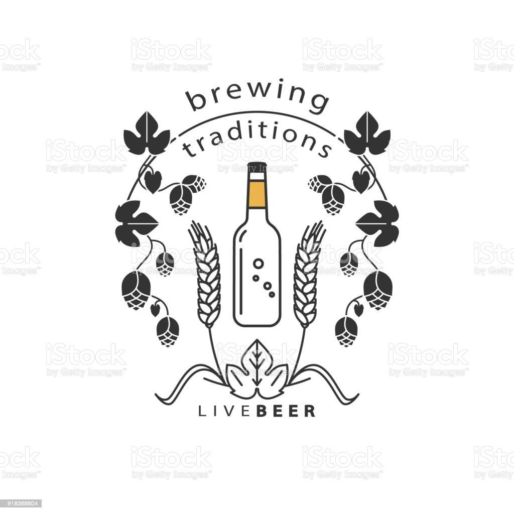 Ilustración de Una Botella De Cerveza Y Un Marco De Lúpulo Y Trigo ...