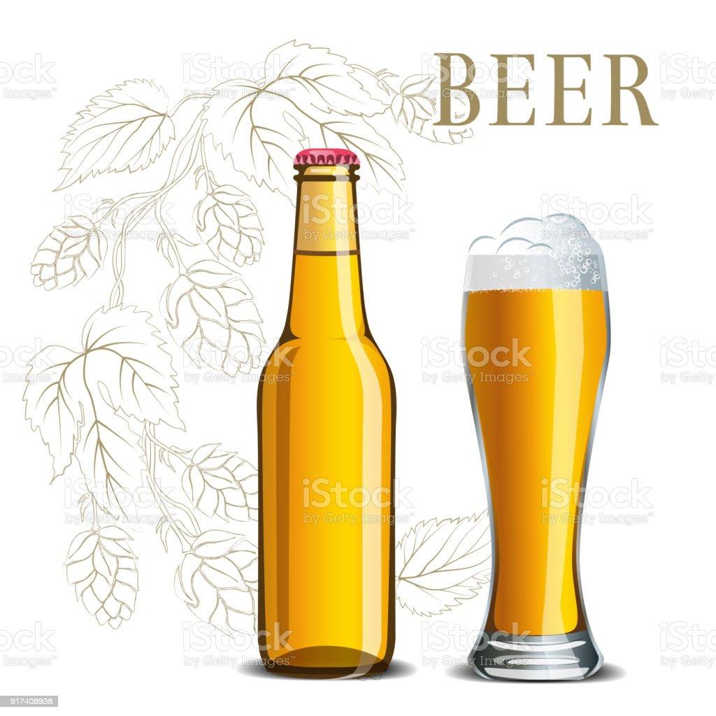 ビールのホップのスケッチメニューのイラストの背景にあるガラス瓶
