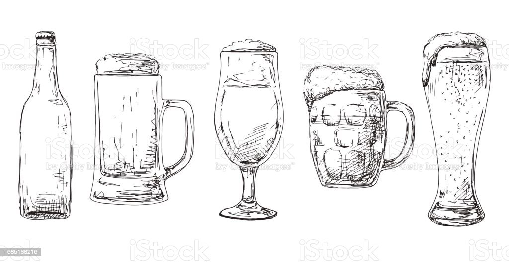 Botella De Cerveza Dibujo: Botella De Cerveza Diferentes Vasos Y Jarras De Cerveza